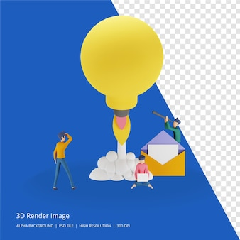 3d render illustratie van teamwork business brainstorming idee concept met grote gele gloeilamp, kleine mensen karakter