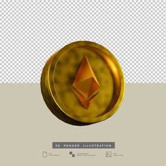 3d render ilustración moneda ethereum aislado