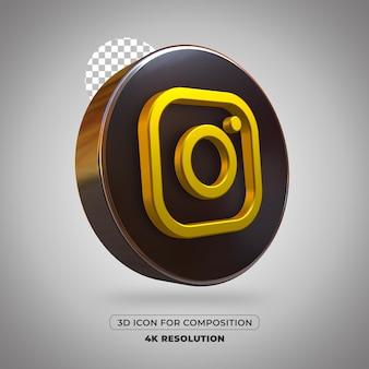 3d render instagram pictogram geïsoleerd