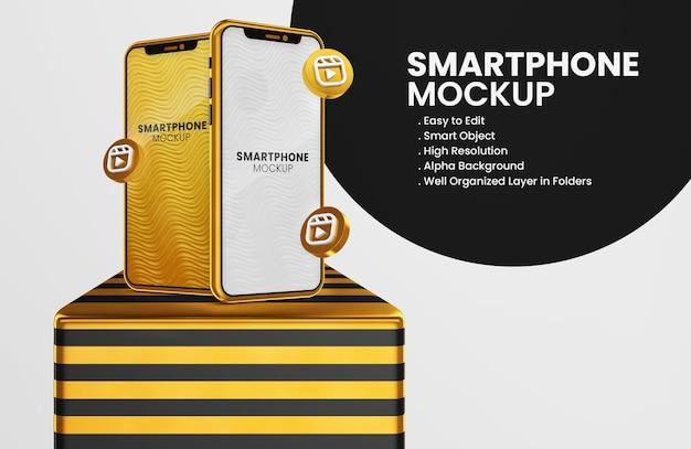 3d render instagram reels icoon op gouden smartphone mockup