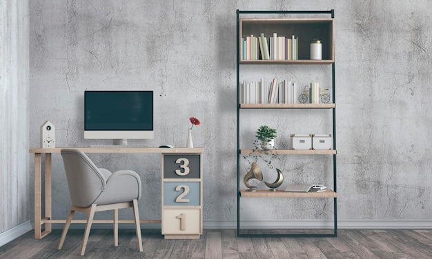 3d render interieur kamer met desktop computer