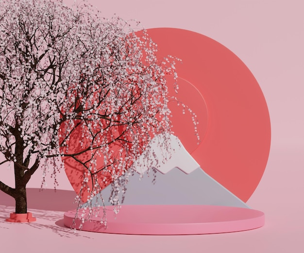 3d render japanse berg fuji in roze scène met kersenboom en mockup product achtergrond