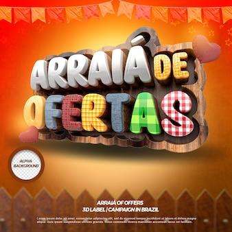 3d render juiste arraia-aanbiedingen met hek en vlaggen voor festa junina in het braziliaans