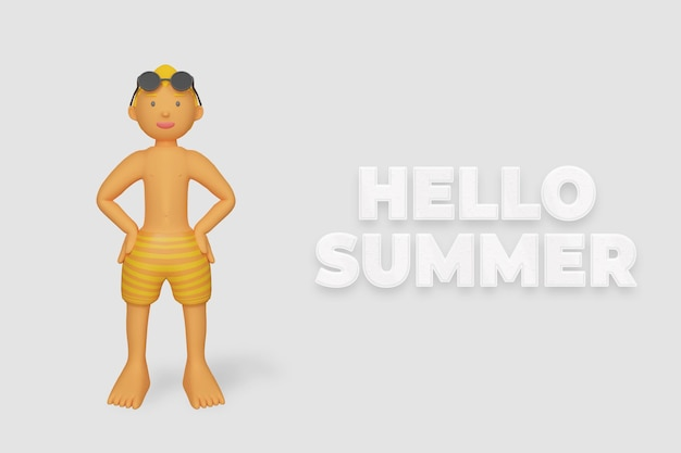 3d render karakter met pose zomer sjabloon