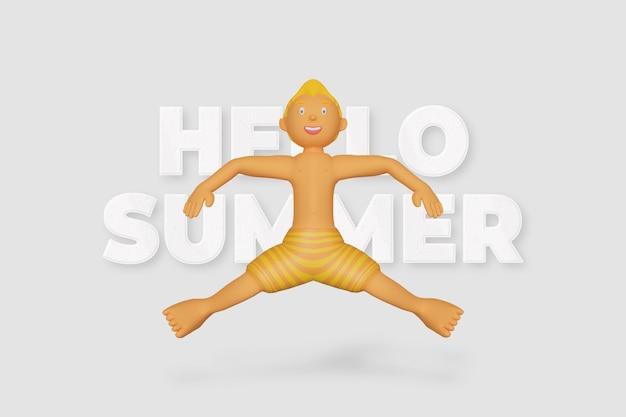 3d render karakter springen zomer sjabloon