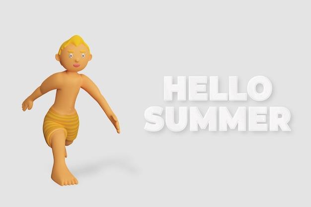 3d render karakter wandelen zomer sjabloon