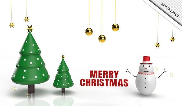 3d render kerstboom met sneeuwpop