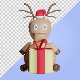 3d render kerstrendier met gele geschenkdoos