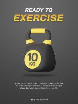 3d render kettlebell met donkere thema poster ontwerpsjabloon