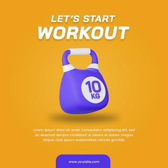 3d render kettlebell pictogram geïsoleerd. handig voor sportillustratie. post ontwerpsjabloon.