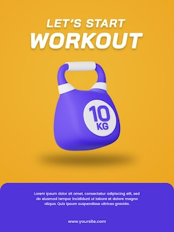 3d render kettlebell pictogram geïsoleerd. handig voor sportillustratie. poster ontwerpsjabloon.