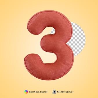 3d render kussen kussen nummer drie 3 vorm