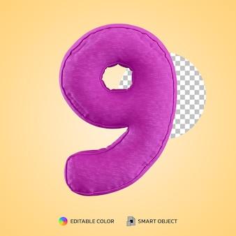 3d render kussen kussen nummer negen 9 vorm