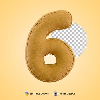 3d render kussen kussen nummer zes 6 vorm