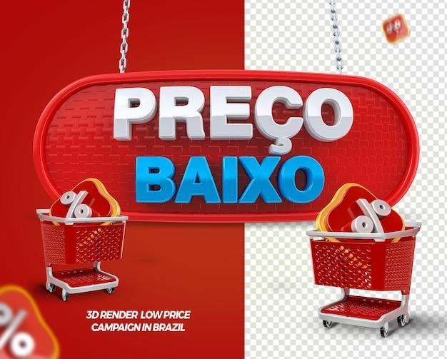 3d render label lage prijs met winkelwagen voor algemene winkels in brazilië
