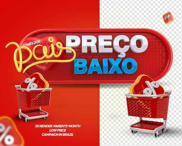 3d render label lage prijs ouders maand met winkelwagen voor algemene winkels in brazilië