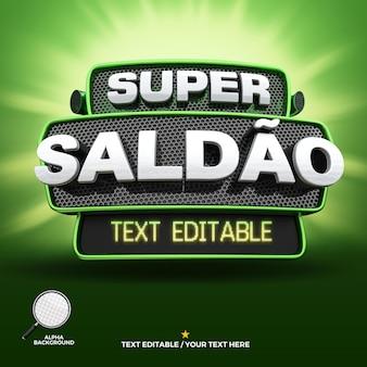 3d render label super aanbieding groene campagne in het portugees