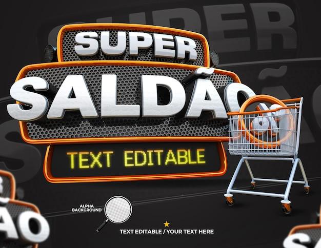 3d render label superaanbieding met winkelwagencampagne in het portugees