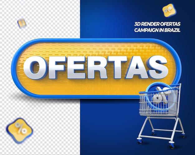 3d render labelaanbiedingen met winkelwagen voor algemene winkels in brazilië