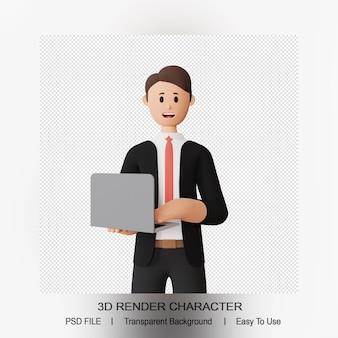 3d render lachende man karakter houdt een laptop vast