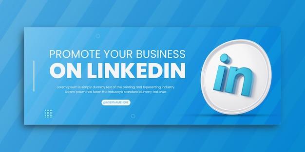 3d render linkedin zakelijke promotie voor sociale media facebook omslagontwerpsjabloon