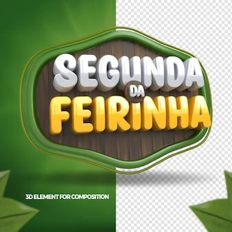 3d render maandag van de groentesamenstelling voor supermarkt in brazilië 3d render portugees