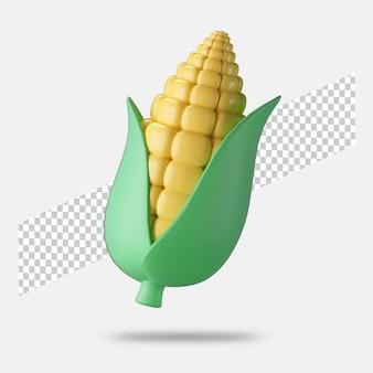 3d render maïs pictogram geïsoleerd