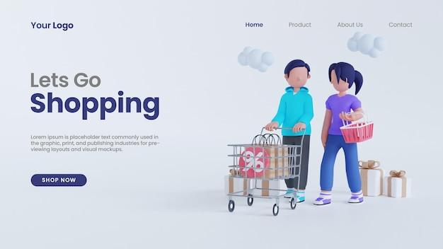 3d render man en vrouw laten we online gaan winkelen met de bestemmingspagina psd-sjabloon van het winkelwagenconcept
