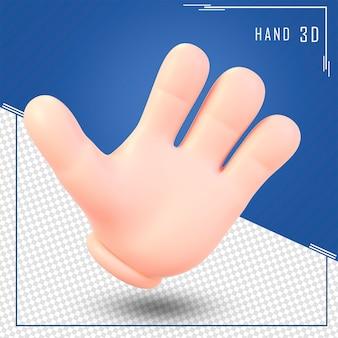 3d render mano humana hola concepto aislado