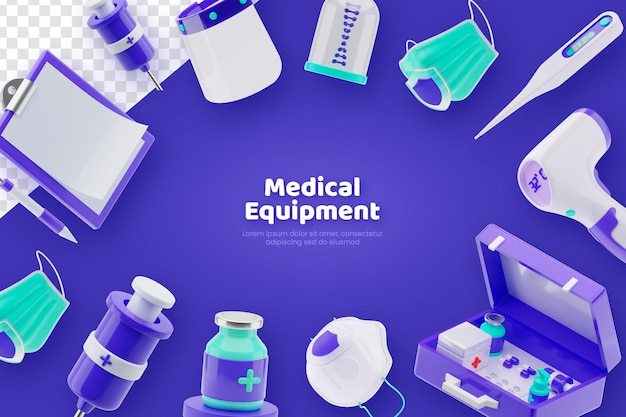3d render medische apparatuur concept banner