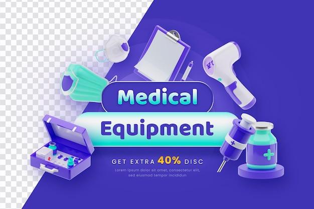 3d render medische apparatuur verkoop concept