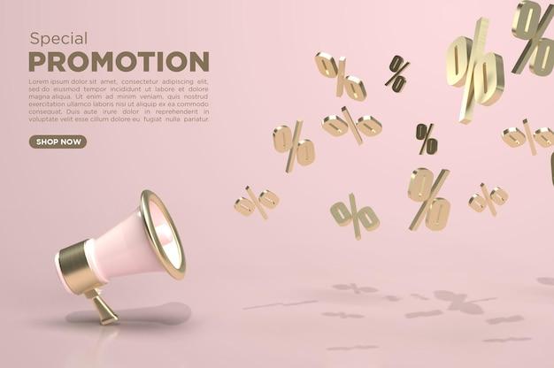 3d render minimalistische megafoon sjabloon