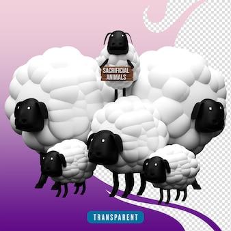 3d render offerdieren schapen