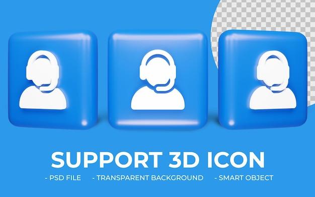 3d render ondersteuning of bel ons pictogram ontwerp