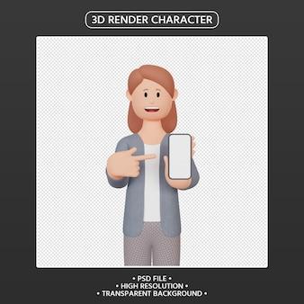 3d render personaje femenino apuntando hacia arriba smartphone