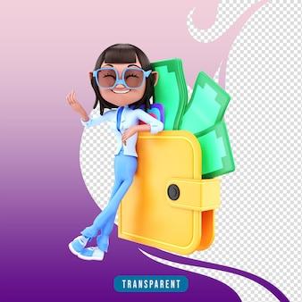 3d render personaje femenino con billetera
