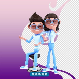 3d render personaje pareja pose corporativa