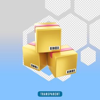 3d render pictogram e-commerce doos pakacge