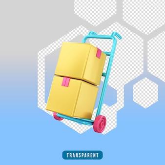 3d render pictogram e-commerce handtruck