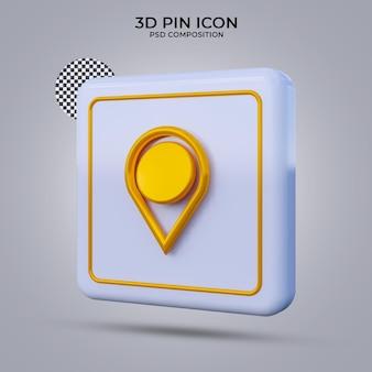 3d render pin pictogram geïsoleerd
