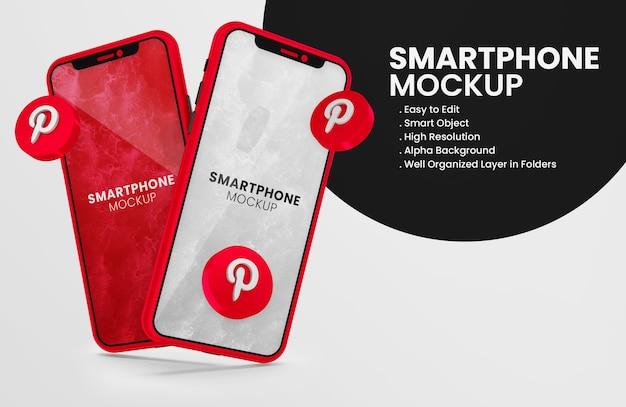 3d render pinterest-pictogram op rood smartphonemodel