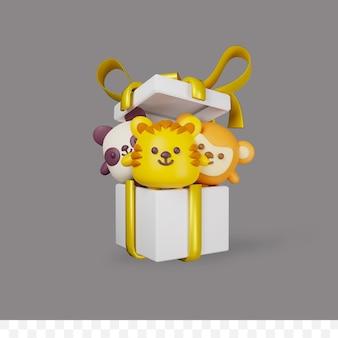 3d render pollo panda y tigre en caja de regalo