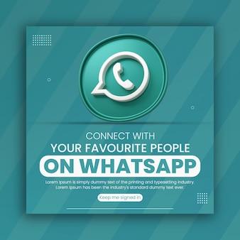 3d render de promoción empresarial de whatsapp para la plantilla de diseño de publicaciones en redes sociales