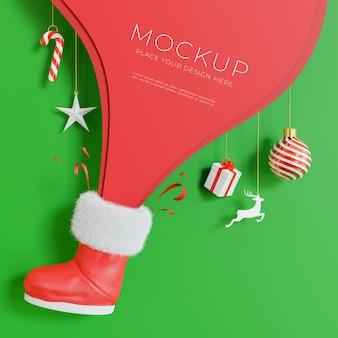 3d render regalo de navidad rebote de zapato rojo con concepto de feliz navidad
