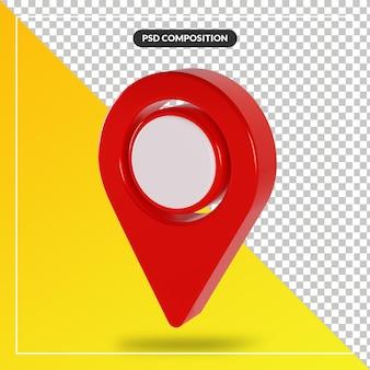 3d render rode kaart aanwijzer pictogram geïsoleerd