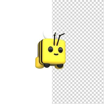 3d render schattige bij met honing