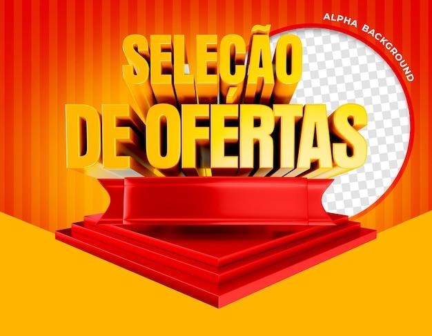 3d render selectie van aanbiedingen op podium in brazilië