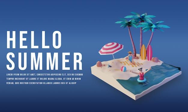 3d render sjabloon banner sociale media zomer met een podium premium psd