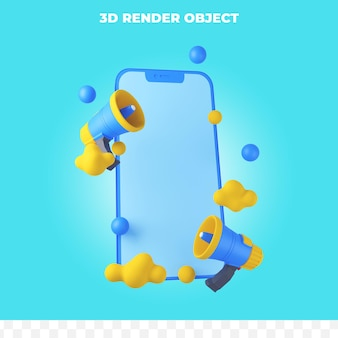 3d render smartphone met megafoon