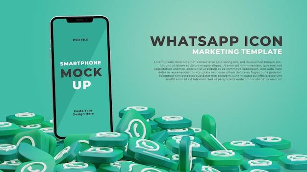3d render smartphone mockup met whatsapp icon